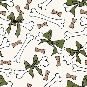 Dog Bones with Bows - Sage, H White