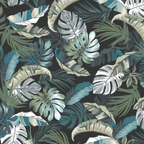 Rainforest Floral - Charcoal/Blue