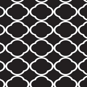 White Quatrefoil Pattern Black