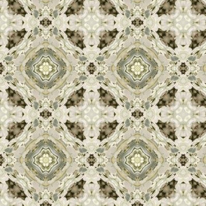 18-02k Victorian Gray Olive Cream Abstract Geometric Floral