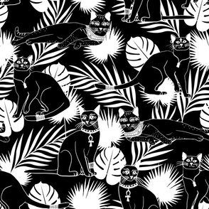 Egyptian Cats Black and White