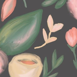 Peach Abstract Florals  on charcoal