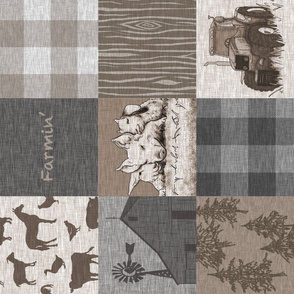 Farmin - 9sq Rustic Soft Brown And grey - ROTATED