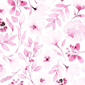Pink watercolour floral pink flowers washed out dainty girly nursery baby girls