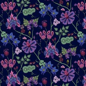 indian floral 3 on blue