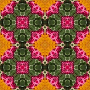 18-02e Kelly Green Hot Pink Sunflower Yellow Abstract Floral  Geometric _ Miss Chiff Designs