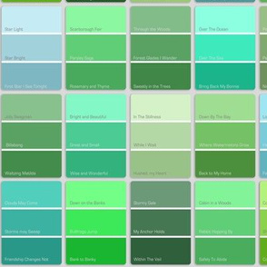 paint chips with names - green