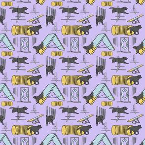 Simple black Labrador Retriever agility dogs small - purple