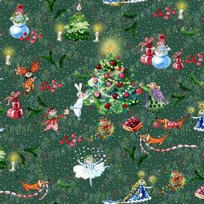 Decoration  Christmas tree . green