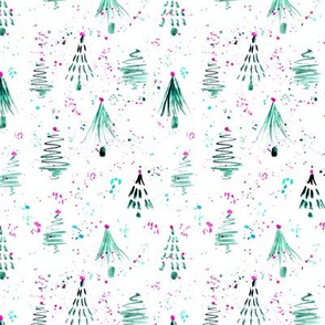 Emerald firs and confetti || watercolor christmas pattern