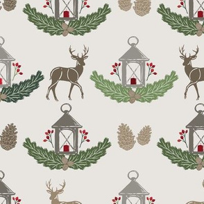 Red + Green Holiday Woodland Damask with Deer, Lantern, Evergreen, & Pine Cones // Warmest Wishes Farmhouse Christmas Collection