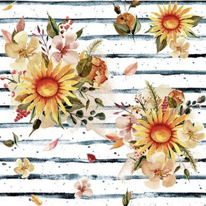 "8"" Golden Sunflowers // Blue Stripes"