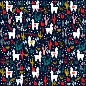 Cute Alpaca and Cactus Pattern