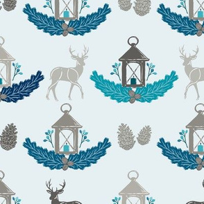 Turquoise Blue Holiday Woodland Damask with Deer, Lantern, Evergreen, & Pine Cones // Warmest Wishes Farmhouse Christmas Collection