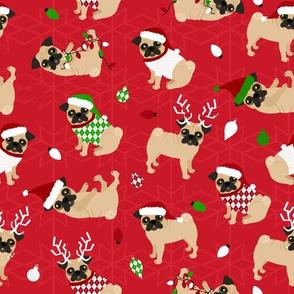 Pug Christmas Red