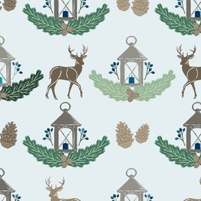 Blue + Green Holiday Woodland Damask with Deer, Lantern, Evergreen, & Pine Cones // Warmest Wishes Farmhouse Christmas Collection