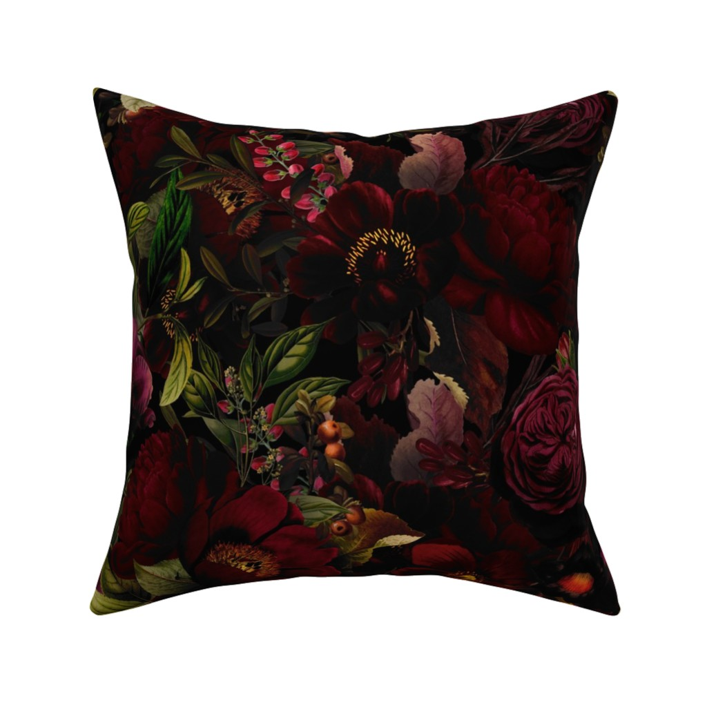 "Catalan Throw Pillow featuring 18""  Moody Florals by UtART - Mystic Night 2 by utart"
