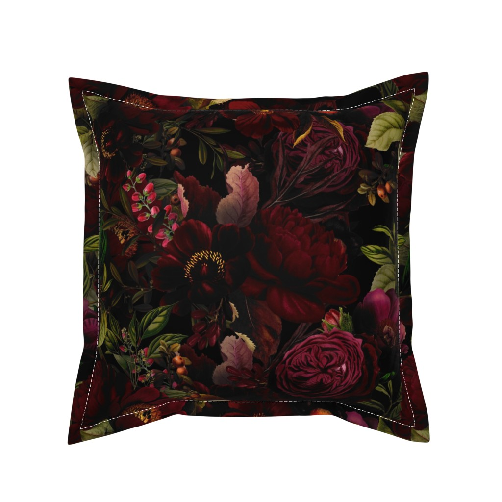 "Serama Throw Pillow featuring 18""  Moody Florals by UtART - Mystic Night 2 by utart"