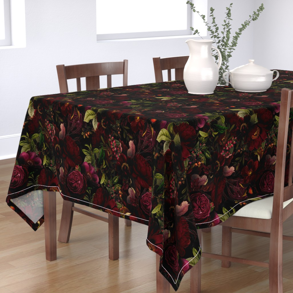 "Bantam Rectangular Tablecloth featuring 18""  Moody Florals by UtART - Mystic Night 2 by utart"