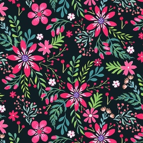 Hand painted Christmas Floral Red and Pink