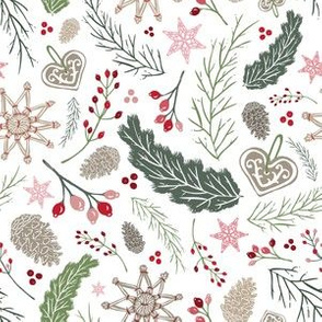 Vintage Folk Winter Woodland Holiday Toss in White, Green, & Pink // Pine Boughs, Straw Ornaments, Berries, Pine Cones, Lace, Gingerbread, Branches // Olde World Farmhouse Christmas