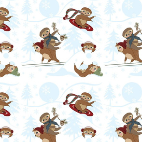 Playful Sloth Snow Play, Winter, Snowflakes