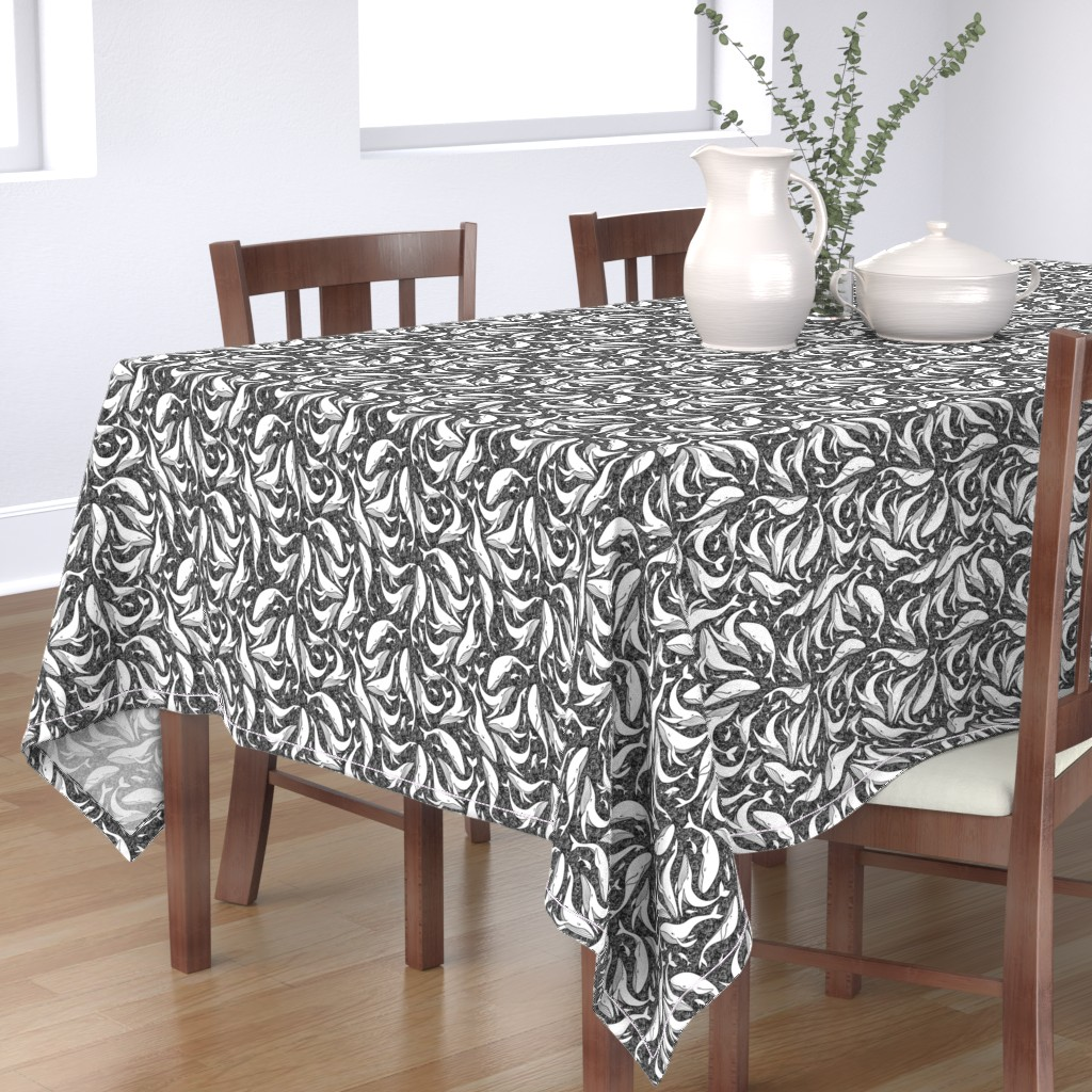 Bantam Rectangular Tablecloth featuring A school of whales - black and white by elena_naylor