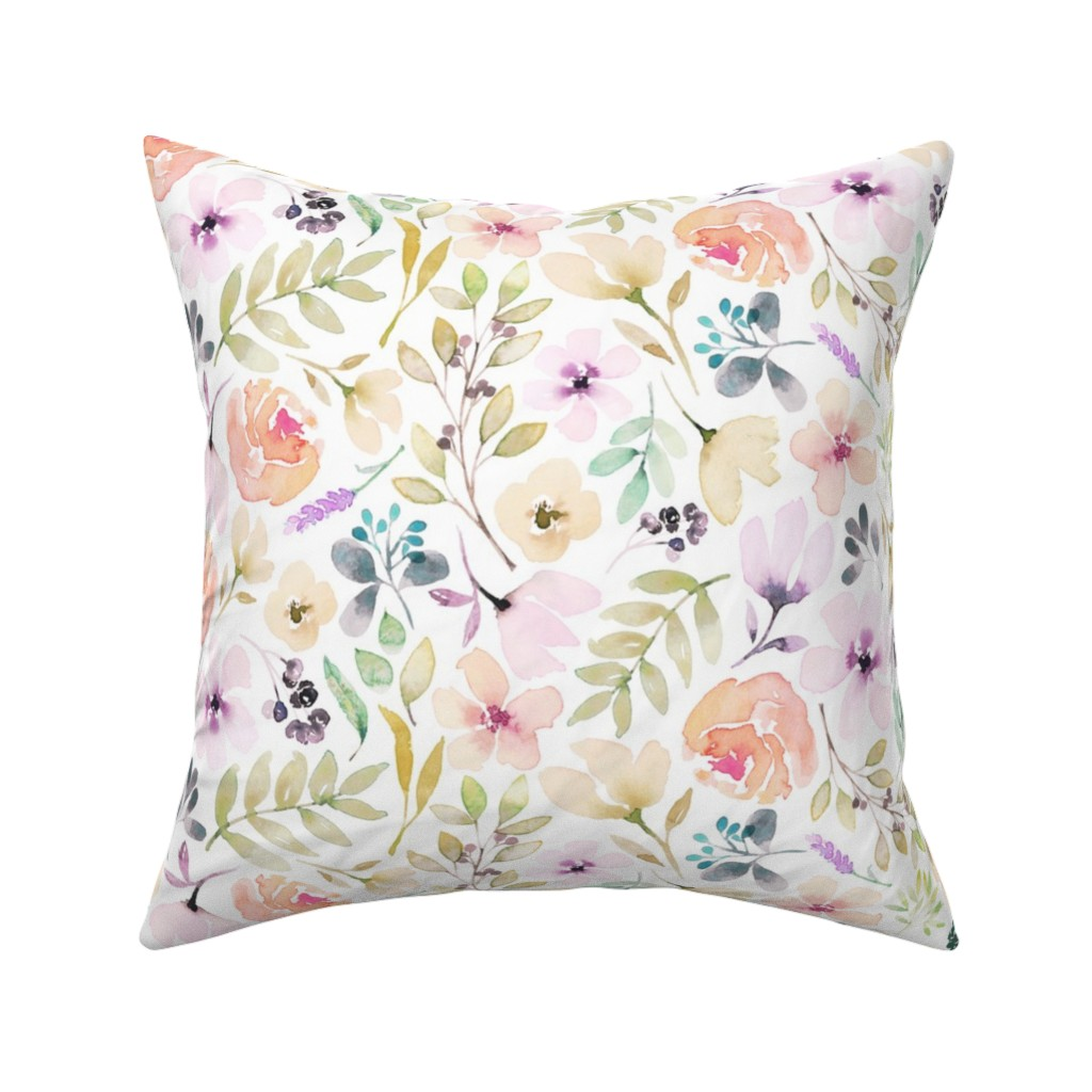 Catalan Throw Pillow featuring Washed out watercolour floral pretty pastels flowers girls women by erin__kendal