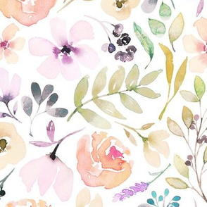 Washed out watercolour floral pretty pastels flowers girls women