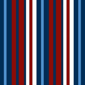 Blue, red and white stripes
