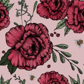 Peonies & Bees on cream rose