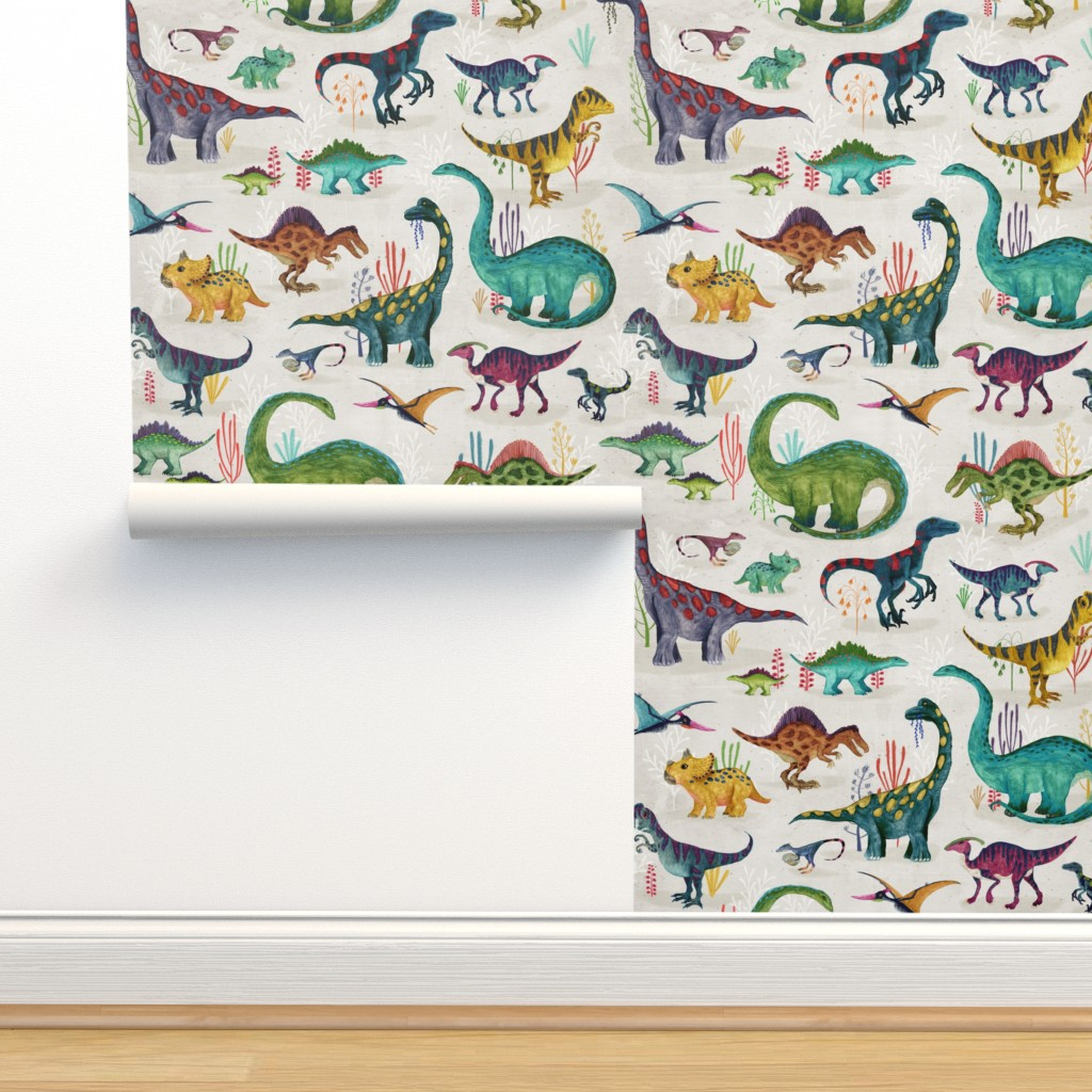 Isobar Durable Wallpaper featuring Dinosaurs bright {large} by katherine_quinn