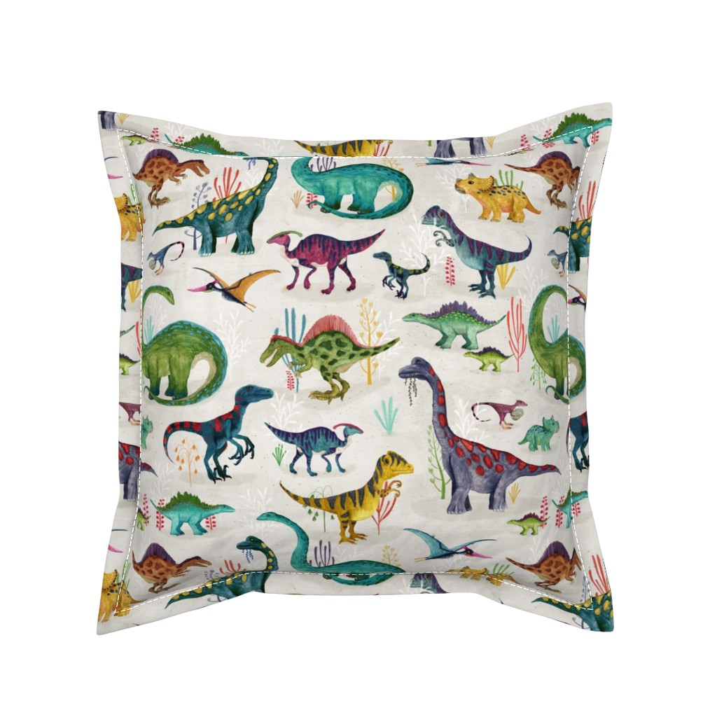 Serama Throw Pillow featuring Dinosaurs bright {large} by katherine_quinn