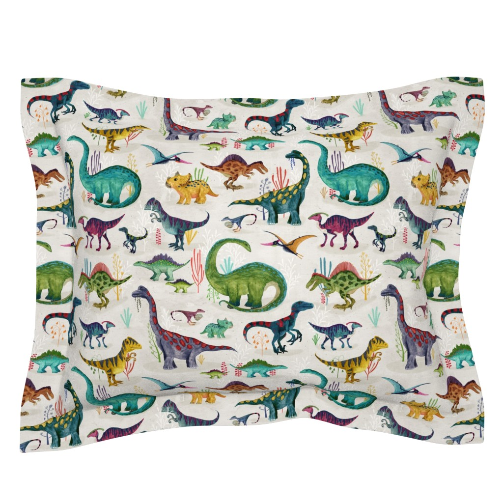 Sebright Pillow Sham featuring Dinosaurs bright {large} by katherine_quinn