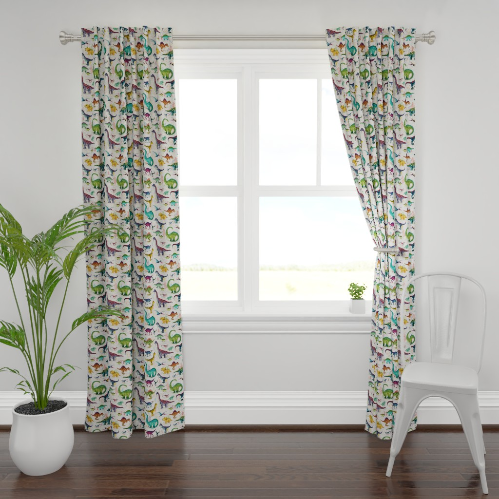 Plymouth Curtain Panel featuring Dinosaurs bright {large} by katherine_quinn