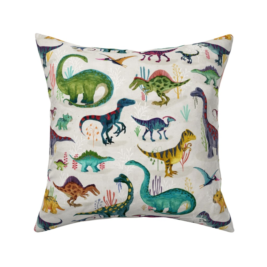 Catalan Throw Pillow featuring Dinosaurs bright {large} by katherine_quinn