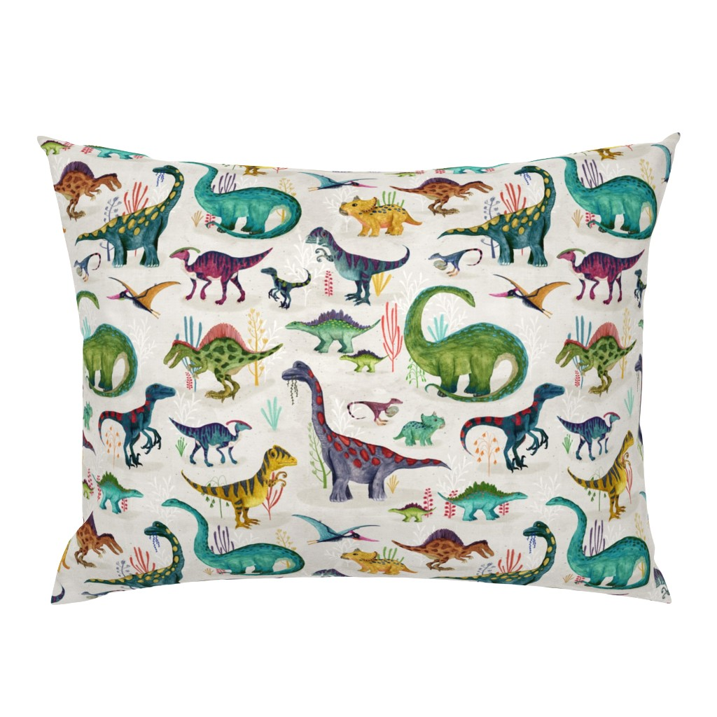 Campine Pillow Sham featuring Dinosaurs bright {large} by katherine_quinn