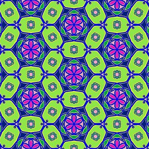 Flower chains - bright green and purple