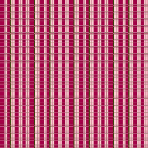 Plaid: dark pink, light pink and olive green
