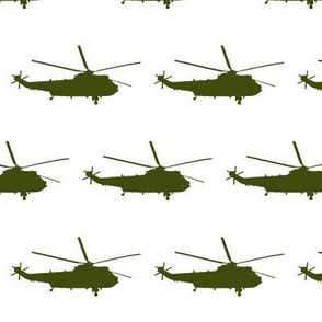 Helicopter: olive green on white (or cream)