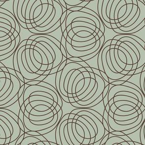geo six circles-walnut on celadon