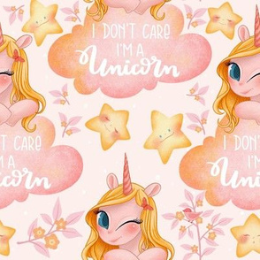 Pink Unicorn Girl with Clouds and Stars