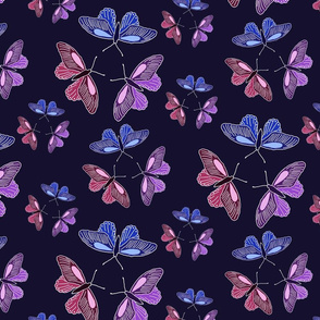 Butterfly trios on blue