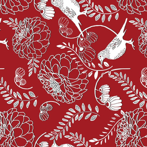 Chinoiserie Red Floral Railroaded
