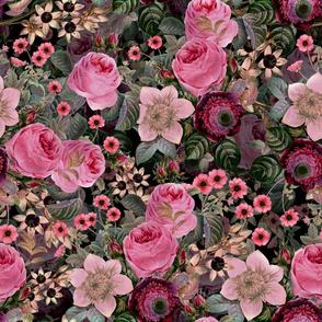"18""  Pierre-Joseph Redouté Roses, Mystic Night pink flowers,black"