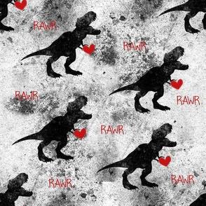 Grunge Dinosaurs Valentines Hearts RAWR
