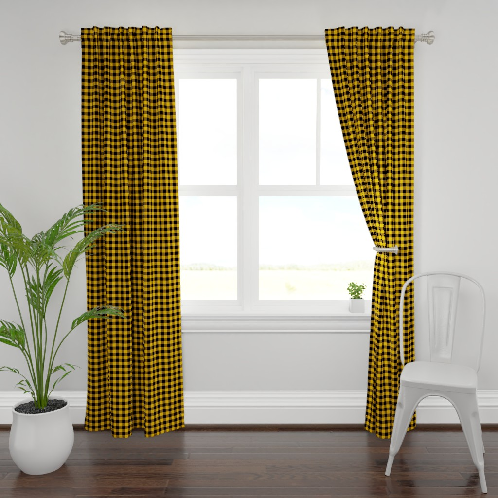 Plymouth Curtain Panel featuring Mini Goldenrod Yellow and Black Rustic Cowboy Cabin Buffalo Check by paper_and_frill