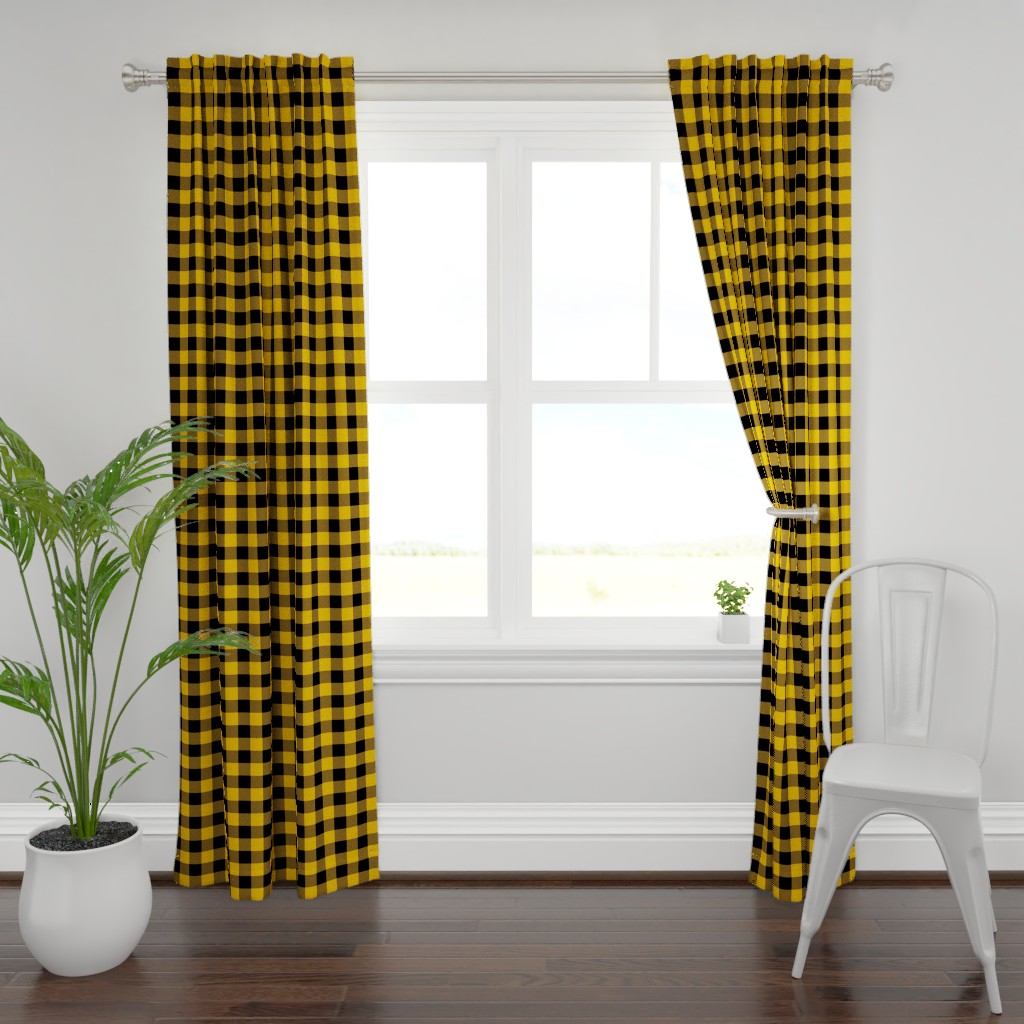 Plymouth Curtain Panel featuring Original Goldenrod Yellow and Black Rustic Cowboy Cabin Buffalo Check by paper_and_frill