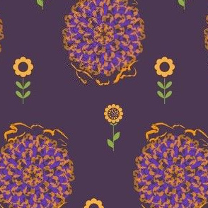 Fat Floral Gold on Purple