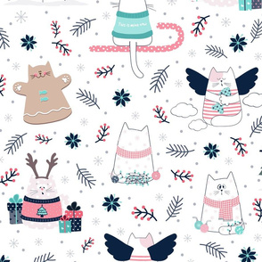 Christmas Cats Blue & Pink
